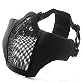 Unigear Half Face Lower Mask Foldable Mesh Adjustable Tactical Metal Steel Mask for Airsoft/Hunting/Paintball/Shooting (Black-1)