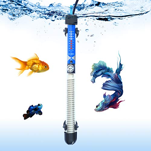 SALUTE Aquarium Heater Submersible Auto Thermostat Heater, 200W Fish Tank Heater and Adjustable Temperature with 2 Suction Cups Suitable for 30-75 Gallon Fish Tank (30 Fish Tank Aquarium)