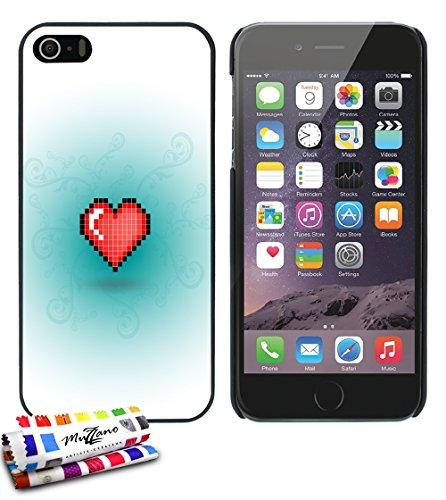 Ultraflache weiche Schutzhülle APPLE IPHONE 5S / IPHONE SE [Herz-pixel-rot] [Schwarz] von MUZZANO + STIFT und MICROFASERTUCH MUZZANO® GRATIS - Das ULTIMATIVE, ELEGANTE UND LANGLEBIGE Schutz-Case für I