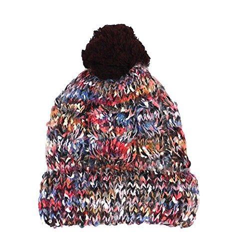 TINKUY PERU - Peruvian Alpaca Wool - Womens Unisex Hat Polar Inner Multicolor Brown Pom pom Beanie