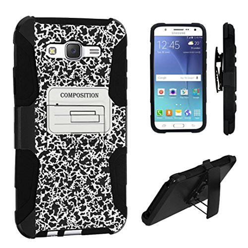 Galaxy J7 (J700) Case, DuroCase ® Hybrid Dual Layer Combat Armor Style Kickstand Case w/ Holster for Samsung Galaxy J7 SM-J700 (2015/2016) / SPHJ700 (2016) - (Composition Note Book)