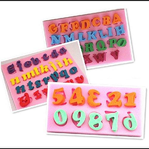 ShungHO 3PCS Mini Letter and Number Silicone Handmade Fondant Cake Decorating DIY Mould