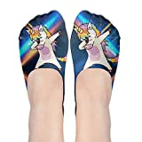 Hip Hop Unicorn Rainbow Womens No Show Socks Funny Novelty Low Cut Liner Socks