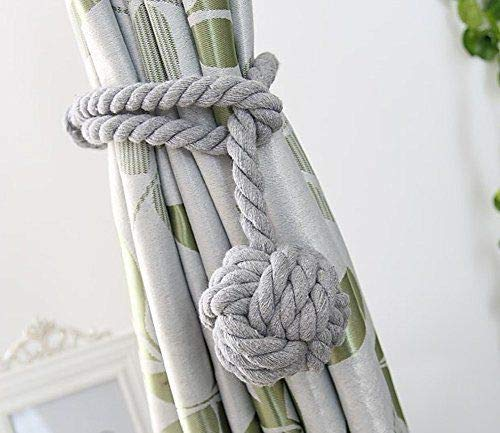 YIDIE 4 Pieces Cotton Rope Holdbacks Hand Knitting Window Curtain Tiebacks for Blackout Curtains, Grey by YIDIE (Image #6)