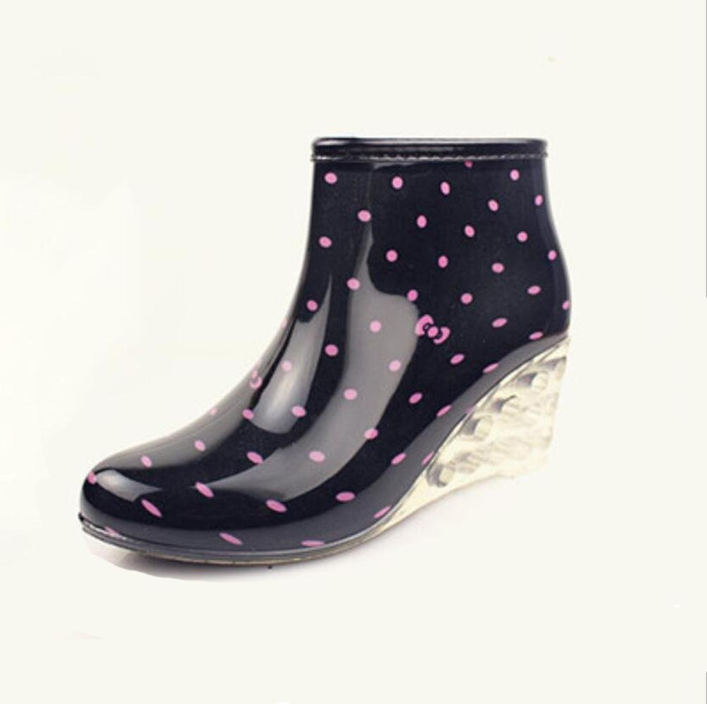 SISHUINIANHUA Botas de Lluvia para MujerPendiente Plana con Botas de LluviaBotas Cortas de tacón AltoZapatos de Agua para Lluvia