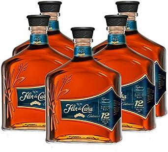 Ron Flor de Caña Centenario 12 años de 70 cl - D.O. Nicaragua - Bodegas Osborne (Pack de 5 botellas): Amazon.es: Alimentación y bebidas