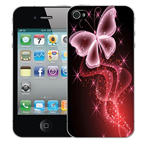 Mobile Case Mate iPhone 5c Silicone Coque couverture case cover Pare-chocs + STYLET - Pink Butterfly Sparkle pattern (SILICON)