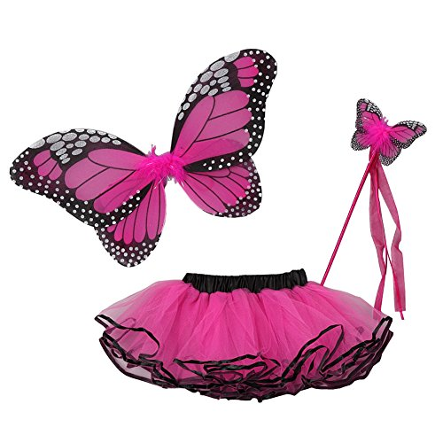 Little Girls Fuchsia Butterfly Wings Wand Halloween Tutu 3 Pcs Set 2-4T (Baby And Kids Butterfly Costume)