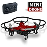 Remote Control Airplane RC Mini Drone for Kids 2.4Ghz 6-Axis Gyro 4 Channels Quadcopter Indoor / Outdoor Flying Helicopter RTF for Beginner Drone Training (Red)