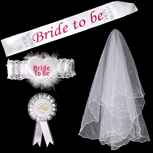 SpringBuds 4 Pieces Bride To Be Bachelorette Party Accessory with Sash Garter Mantilla Rosette Badge Decorations Kit]()