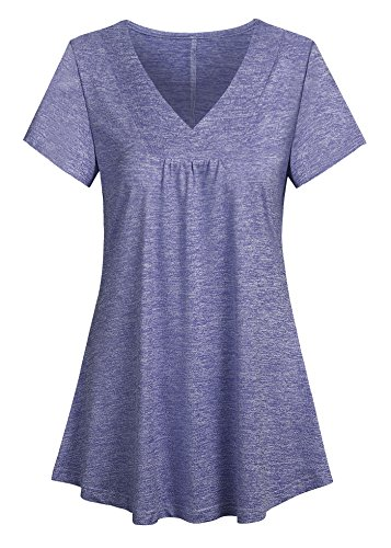 Ouncuty XL Tunic Tops for Women Loose, Womans Notch Collared Casual Solid Color Comfy Cool Scrub Simple Hippie Long Henley Shirts x-Large Light (Denim Scrub Top)