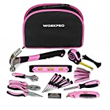 WORKPRO 103-Piece Pink Tool Kit - Ladies Hand Tool Set with Easy Carrying Round Pouch - Durable, Long Lasting Chrome...