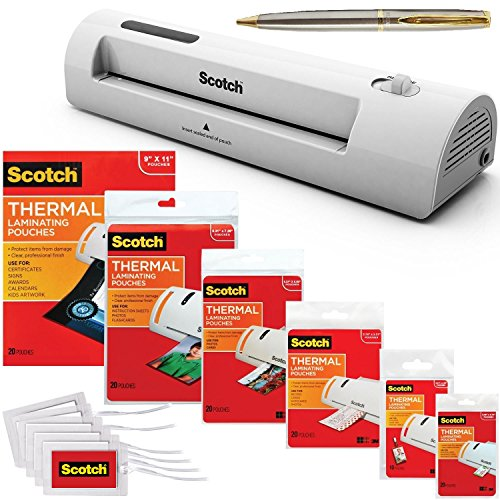 Scotch TL901C Thermal Laminator 2 Roller System Bundle with 115 Assorted Pouch Sizes and a Plexon Pen
