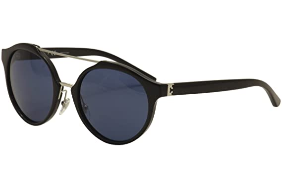 0025b6af9f6 Image Unavailable. Image not available for. Color  Tory Burch TY 9048  139080 Black Silver Plastic Round Sunglasses Navy Lens