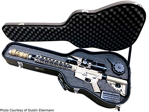Discreet Concealment Guitar Rifle Case and Diversion Safe - Double Pick Pluck foam security hard gun guns 46 guitar ar15 accessories acoustic martin tactical cases soft locking BLACK for AR-15 Carry