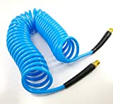 """Dynamic Power 120 PSI Polyurethane Recoil Air Hose 1/4"""" x 25' With 1/4"""" MNPT Swivel Ends And Bend Restrictor Fittings (Blue)"""