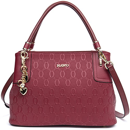 NAWO Leather Designer Handbags Shoulder Tote Top-handle Bag Clutch Purse for Women Wine Red