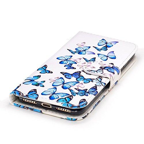 Funda iphone 7,SainCat Funda de cuero sintético tipo billetera con de Suave PU Carcasa Con Tapa y Cartera,Elegante Estuche Caja,Pintado en relieve árbol Cuero de la PU Leather Cubierta Plegable Flip C Pequeña mariposa azul
