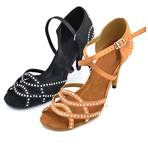 Black Cross 7 TDA Shoes Strap Sexy Crystals Samba Salsa Satin Tango 5cm Modern Latin Dance Women's Wedding qqUEnwxW6a