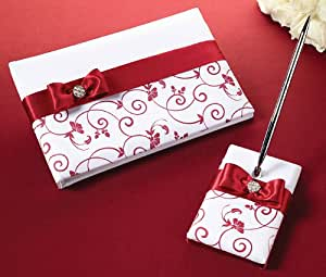 Red and White Guest Book and Pen Set