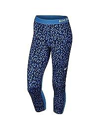 Nike Women's Pro Cool Facet Capri Pant Wolf Grey/Game Royal Blue/Navy