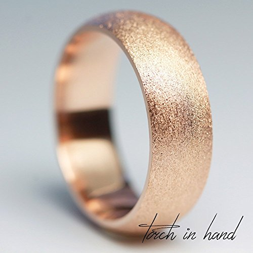 Rose Gold Wedding Band, 14k Solid Rose Gold 5mm Wide, Matte Wedding Band, Brushed Wedding Band, Men's Band