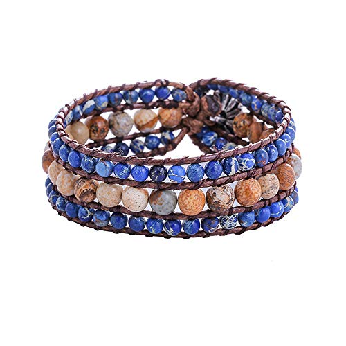 IUNIQUEEN Boho Handmade Natural Stone Bead 3 Row Wide Wrap Wrist Statment Bracelet Jewelry Collection