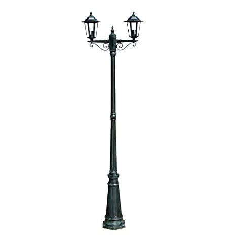 Lámpara de pie exterior doble altura 215 cm verde oscuro ...