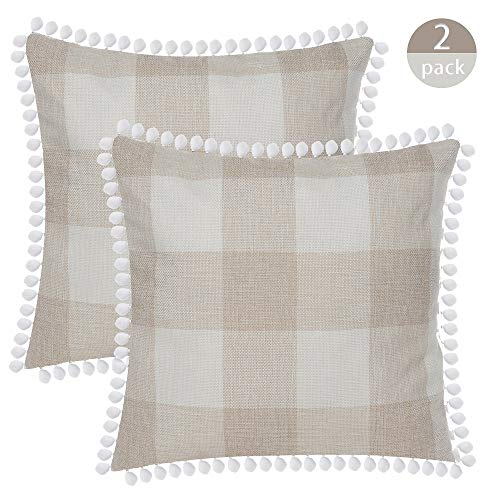 SEEKSEE Buffalo Plaid Throw Pillow Covers Burlap Country Decoration Checkers Large Plaid Cotton Linen Decorative Pillowcase Retro Cushion Sofa Living Room 18x18 in,Set of 2 (Hairball-Beige) -