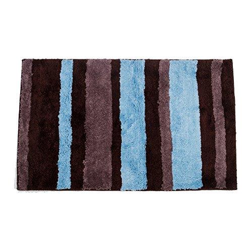IMIEE Microfiber Stripes Bath Rug, 21x34 Inch, Brown/Blue