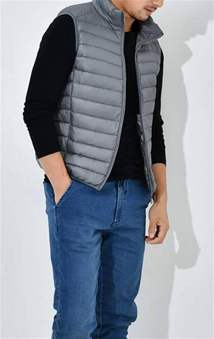 Wofupowga Men Coat Outwear Sleeveless Quilted Down Jacket Solid Color Vest