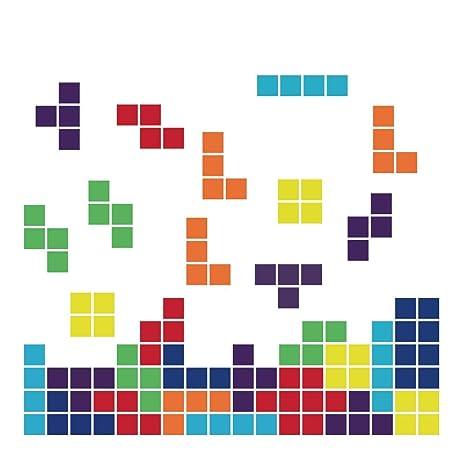 decalmile Pegatinas de Pared Tetris Vinilos Decorativos Infantiles Juego de Arcade Vintage Adhesivos Pared Niños Habitación