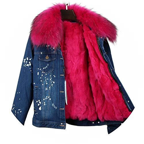Women Denim Coat Girl Denim Jacket Rabbit Fur Thick Lining Raccoon Fur Collar Bomber Jacket,23,S (Coat Fur Genuine 3/4 Rabbit)