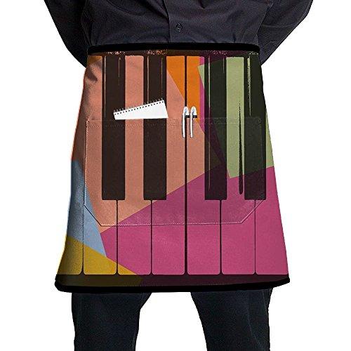 Piano Keys Pop Art Colorful Restaurant Cooking Kitchen Half Body Waist Aprons Sewing Pocket Apron ()
