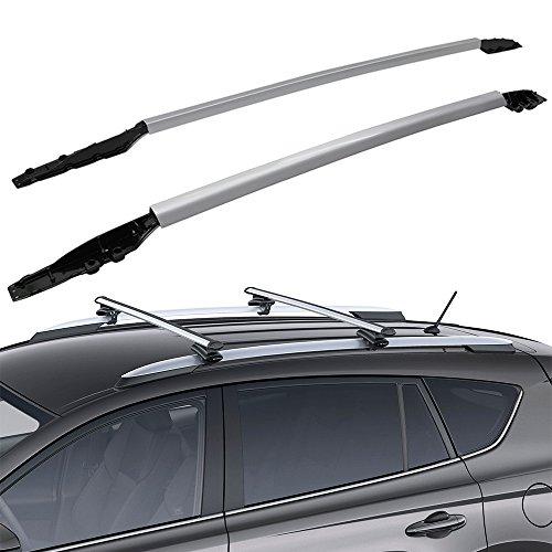 Roof Rack Fits 2013-2017 Toyota RAV4 | OE Factory Style Roof Rack Cross Bar Side Rail Silver by IKON MOTORSPORTS | 2014 2015 2016 (Side Rails Factory)