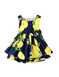 GorNorriss Baby Dress Children Kids Girls Lemon Cartoon Print Bowknot Casual Princess Dress