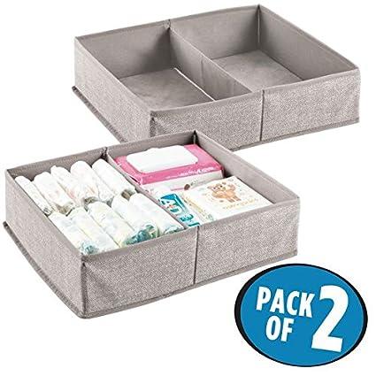 mDesign Organizador para bebés con dos compartimentos – Cesta organizadora para pañales, toallitas, etc