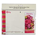 Magnetic Message Board with Attached Reminder Pad and Pen - Flowers - Size 10.4' x 7.3'