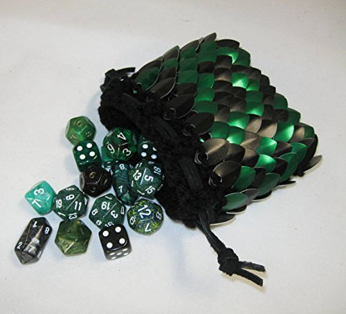 Dice Bag Knitted Scalemail Black Forest Size medium by Crystal's Idyll