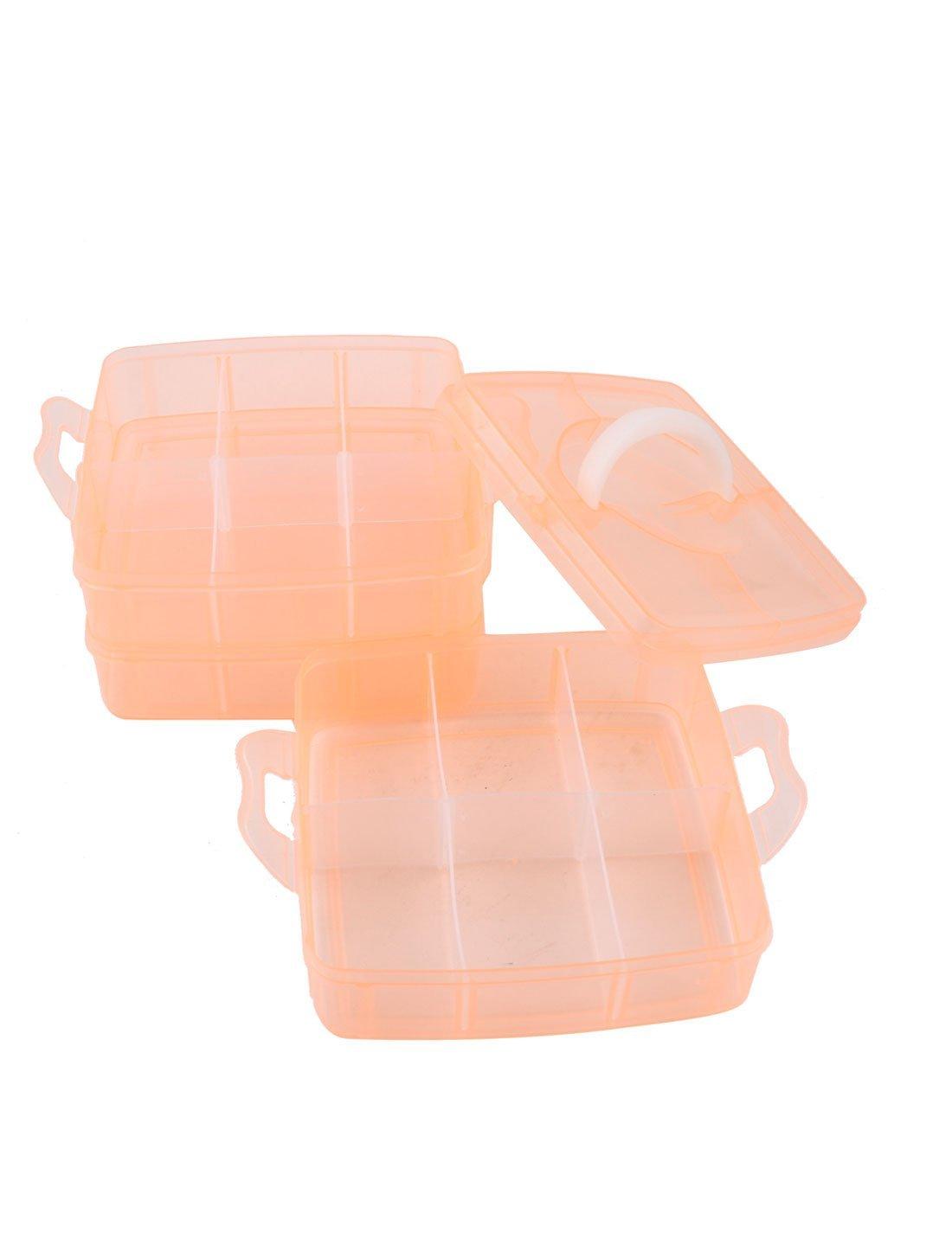 eDealMax Rosso di plastica Arancione 3 strati 18 Slot separabile Mano trasportare Storage Box by eDealMax