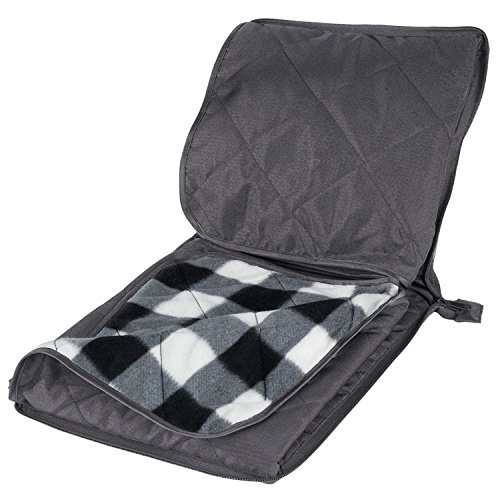 Game Day Stadium Blanket (Outdoors and stadium checkered fleece blanket with bulit-in cushion seat and Zippered Carry Handle Pouch (Water/weather Resistant Polyester Backing))