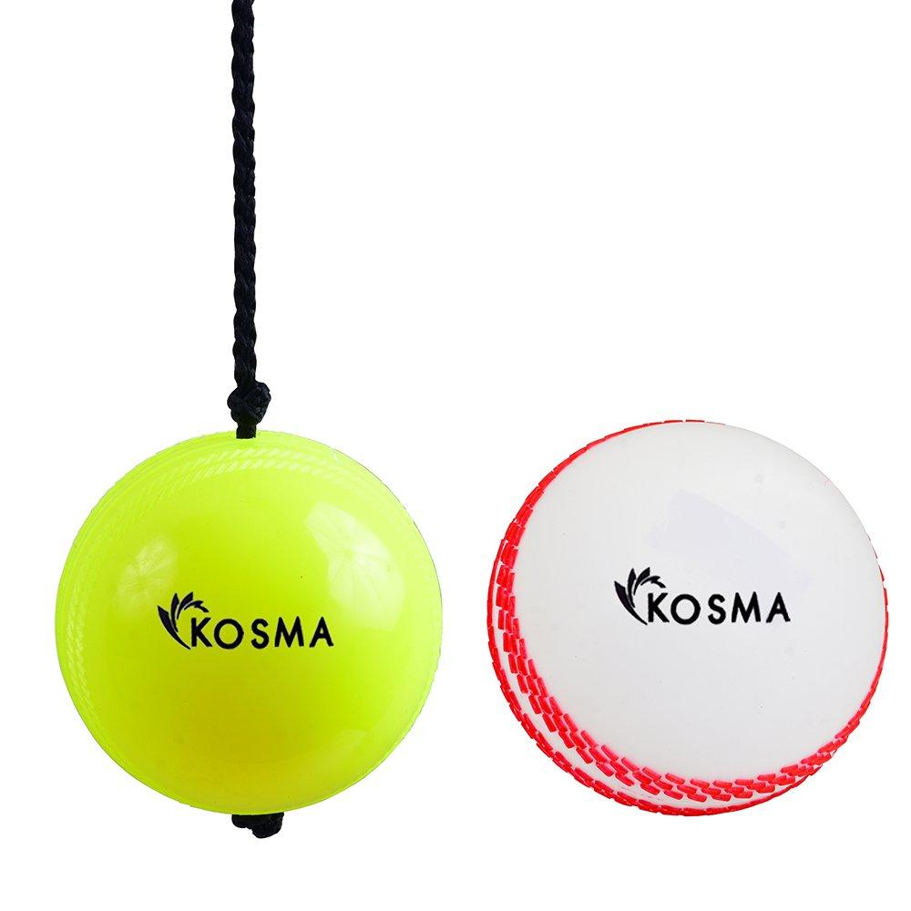 2PC Cricket Ball Set–Cricket Aufhängen Ball mit Reaktion Saite, Wind Ball Weiß mit Lesen Naht (für Knocking und Praxis) Monstar