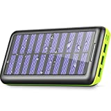 Power Bank Portable Solar Charger - 22000mAh with Dual Input & 3 USB Output Solar Charger, High-Speed Charging Technology Battery Pack for iPhone, Samsung Galaxy and More (Green)