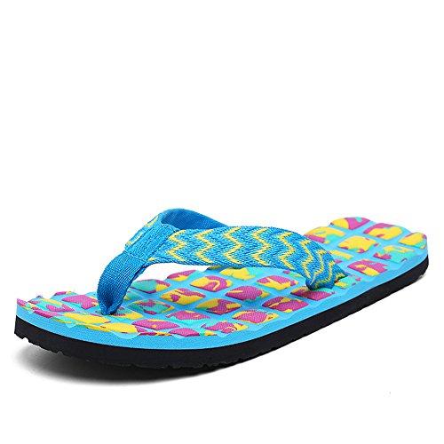Chanclas Para Mujer Sandalias Antideslizantes De Playa De Verano Sandalias Extra Anchas Para Plataforma De Gran Tamaño Blue