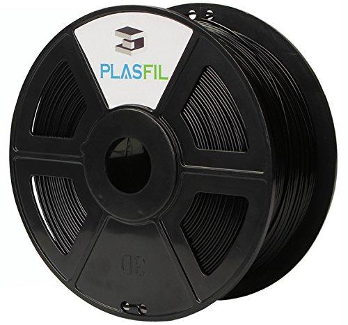 UPC 768430909910, PLASFIL 3D Printer Filament PLA 1KG Spool (2.2 LBS), Adjustable Spool Aperture (60mm/32mm), Dimensional Accuracy +/- 0.03 mm, 1.75mm / Black