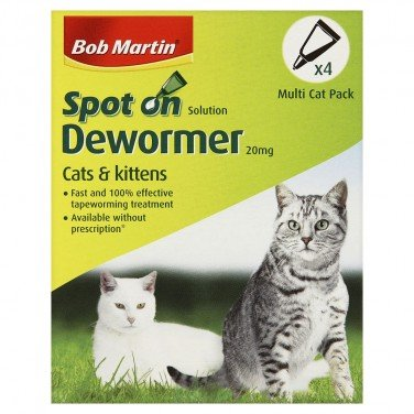 Bob Martin Clear Wormer Spot On for Cats & Kittens 6 x 4 Tubes