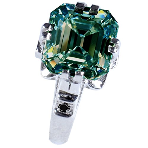 AJEWELS Moissanite Silver Plated Engagement Ring [4.51 Ct, I1 Clarity, Blue Green Color, Size 7] by AJEWELS