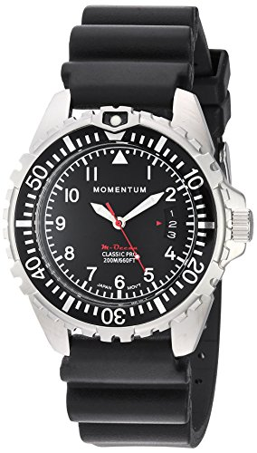 Momentum Men's Quartz Stainless Steel and Rubber Diving Watch, Color:Black (Model: 1M-DN00B1B) - M1 Mens Dive Watch