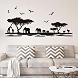 ufengke home African Safari Silhouette Wall Art Stickers Trees Elephant Giraffe Birds Antelope Black Decorative Removable DIY Vinyl Wall Decals Living Room, Bedroom Mural