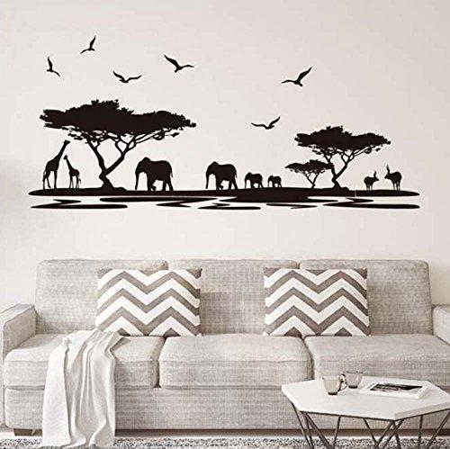 ufengke home African Safari Silhouette Wall Art Stickers Trees Elephant Giraffe Birds Antelope Black Decorative Removable DIY Vinyl Wall Decals Living Room, Bedroom Mural ()